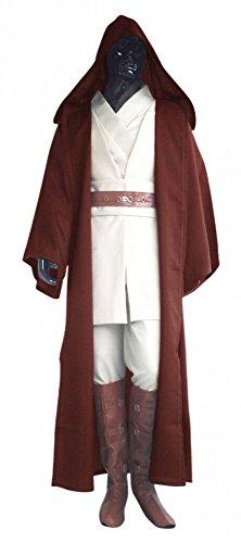 Robe Kenobi Wan Obi Kostüm - Star Wars Herren Kostüm - Obi-Wan Kenobi Komplettset - Mantel Gewand Umhang Cape Jedi, Größe:XL