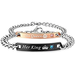 Sansar India His and Hers Matching Set Titanium Stainless Steel His Queen Her King Couple Bracelet