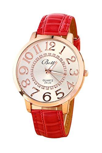 Montre-bracelet - Batti ZA-23 Unisexe montre-bracelet de cadran de gros chiffres strass avec bande en simili cuir rouge