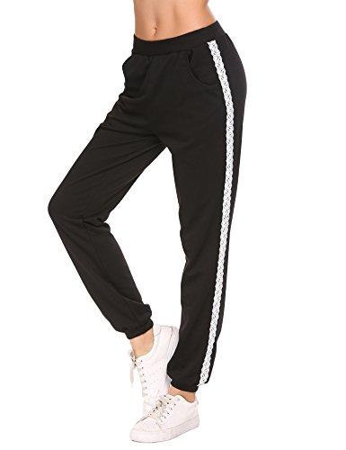 9ca0a5fd930c17 Lucyme Damen Sporthose Sweathose mit Tasche Jogginghosen für Damen  Nachtwäsche Lang Freizeithose Baumwolle