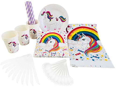 Einhorn Party Supplies Set-Kunststoff Löffel, Messer, Papier Teller, Becher, Trinkhalme, Servietten, Tischdecke-Thema Party Supply Pack-Dient 10