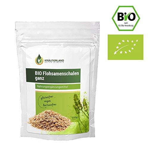 Bio Flohsamenschalen ganz • Ab 8,90 für 500g • Premiumqualität • Reich an Ballastoffen • Superfood • in wiederverschließbaren Frische-Beutel