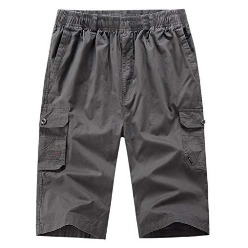 MONDHAUS Bermuda Shorts Sport-Frezeithose mit Seitentaschen für Herren aus Bio-Baumwolle Lässige einfarbige Strandhose XL/XXL/XXXL/XXXXL/XXXXXL,Dunkelgrau,XXXXL -