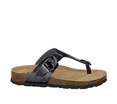 byuAzzo Damen Tieffußbett Sandalen | Komfort Leder Kork Pantoletten | Hausschuhe Badeschuhe | Freizeitschuhe Beruf Arbeitsschuhe | Schnalle Komfort Schuhe (39, Schwarz)