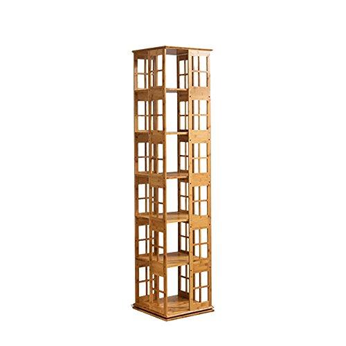 Shelf ZHANGRONG- 3/4/5/6-tier Bücherregal 360 Grad Kreativität Rotierenden Bambus Einfache Bücherregal Kleine Bücherregal Bodenständer - Wanddekoration (Größe : 37*37*176.5cm) 6-tier-bücherregal