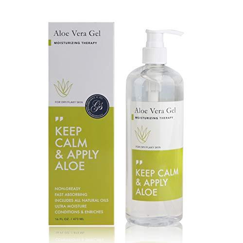 Gel d'Aloe Vera (473ml) flacon pompe - SOS Thérapie hydratante pour la peau sèche et squameuse, cheveux, coup de soleil, acné, brûlure de rasoir, psoriasis, eczéma et irritations de peau