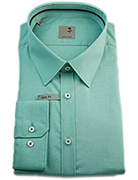Seidensticker Herren Langarm Hemd Schwarze Rose Slim Fit Kent Tape grün kariert / strukturiert 240520.75