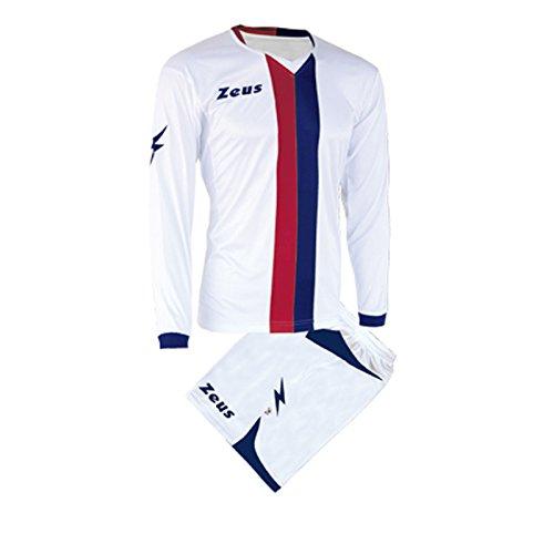 Zeus Herren Kinder Set Trikot Shirt Hosen Klein Armel Kit Fußball Hallenfußball Kit B-NARIO WEISS ROT BLAU (M)