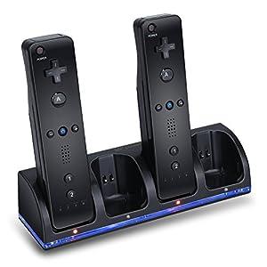 Mondpalast @ Schwarz Ladegerät Dockingstation Lader Ladestation + 4 x 2800mAh Qualitäts AKKU für Nintendo Wii Remote Controller