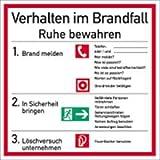 Schild Aushang Verhalten im Brandfall Kunststoff 18x18cm (Verhaltensregeln, Sicherheitsaushang - Feuer / Notfall) praxisbewährt, wetterfest