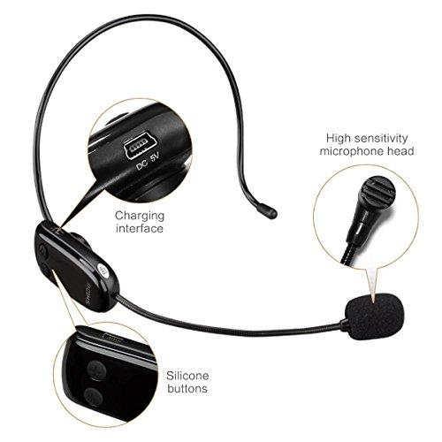 Zoweetek® Microphone sans Fil UHF Technologie Légère Amovible, 2-en-1 Casque et Ordinateur de Poche pour Amplificateur, Haut-parleur, Ordinateur, Conférence, Renseignement etc