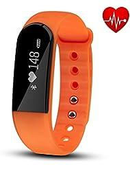 Fitness Tracker mit Herzfrequenz Monitor, hembeer V3Smart Armband Schrittzähler Activity Tracker Schlaf Monitor Bluetooth 4.0Armband mit App für iOS & Android Smartphone