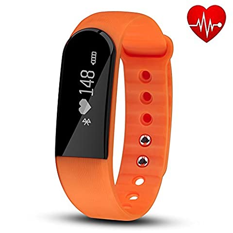 Fitness tracker avec moniteur de fréquence cardiaque, Hembeer V3Smart Bracelet podomètre tracker d'activité moniteur de sommeil Bluetooth 4.0Bracelet avec App pour iOS et Android Smartphone, Orange