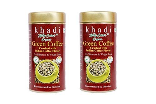 Khadi India Green Coffee Beans Crushed with Indian Coffee Flavor for Slimness and Weight Loss – 100 g -Pack of 2