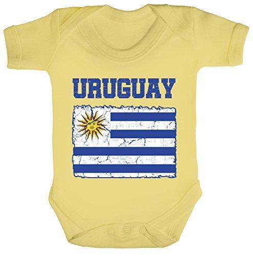 ShirtStreet Trikot Fußball WM Fanfest Gruppen Fan Strampler Bio Baumwoll Baby Body kurzarm Jungen Mädchen Wappen Uruguay, Größe: 12-18 Monate,Soft Yellow -