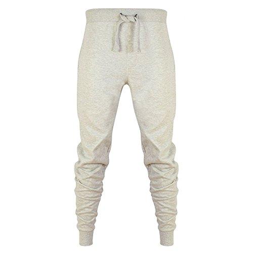 Star Fashion Herren Skinny Slim Fit Hosen Trainingsanzug Jogginghose Fleece Gym Sweat Hose (Small, Grau)