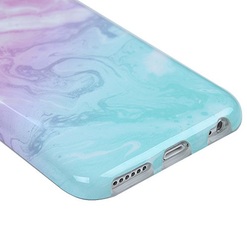 "iPhone 6/6S Hülle Case YOKIRIN Silikonhülle für iPhone 6/6S (4.7"") Premium Marmor TPU Silikon Case Cover Handyhülle Handytasche Etui Handycase Flexible Transparent Rahmen Rutschfest Kratzfest Schutzhü Pulver blau"