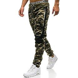 BOLF Hombre Pantalón De Chándal Jogger Pantalones Deportivos Patrón de Camuflaje Pantalones de Algodón P&L Fashion QN269 Verde M [6F6]