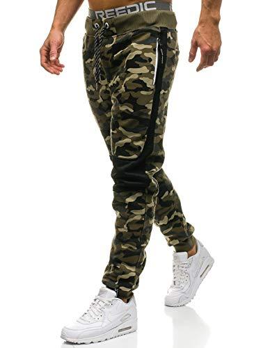 BOLF Herren Sporthose Trainingshose Jogger Army Camo Military Sportlicher Stil P&L Fashion QN269 Grün M [6F6] -