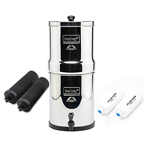 Travel Berkey Water Filter with 2 Black Berkey Filters and 2 PF2 Fluoride Filters by Berkey