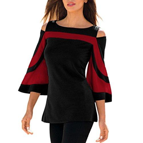 Hffan Frauen Tops Sexy O-Ausschnitt Hemd Button Tasche Bluse T-Shirt Mode Damen Aus Schulter Frühling Solide Langarm Tops Frauen Casual Bluse Plissee Tunika Slim Hemd Shirt Sweatshirt (Rojo, XL) (Rotes T-shirt Tasche)