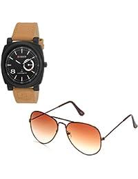 Magjons Fashion Black Analog Watch And Sunglassses Combo For Men And Women - B0735C9YG8
