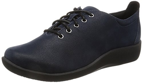 Clarks Women's Cloud Steppers Lace-Up Flats Shoes Sillian Tino Navy