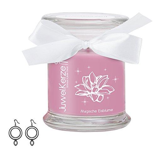 """JuwelKerze \""""Magische Eisblume - Kerze im Glas mit Schmuck - Grosse lila Duftkerze mit Überraschung als Geschenk für Sie (Silber Ohrringe, Brenndauer: 60 Stunden)"""