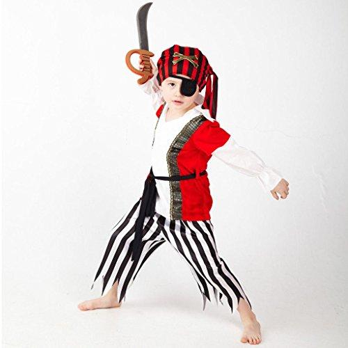 Set Piraten Kostüm - Piraten / Freibeuter Verkleidung für Jungen - Hochwertiges Kinder Kostüm Set Pirat mit Kopftuch, Augenklappe und Säbel - für Kinder von 6-7 Jahre 116-122 cm