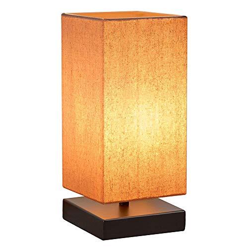 Nachttischlampe Dimmbar HENZIN Tischlampe Holz für Schlafzimmer,Stoff Schreibtischlampe mit Lampenschirm,Touch-Bedienung 5 Helligkeitsstufen Nachttischlampe für Wohnzimmer Schlafzimmer und Büro -