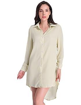 Auxo Mujer Blusas Larga Mini Vestidos V Cuello Camisas Manga Larga Elegante Casual Tops