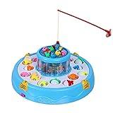 Efanty Magnete Angeln Spielzeug, Elektronisches Fischen-Spielzeug mit Musik, Lernspiel für Kinder enthält 4 Angelrute und 26 Fische - Blau