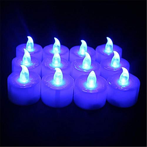 Elektrische Kerzen , Elektronische Kerze Led Elektronische Kerze Kreatives Kerzenlicht Flash Birthday Party Dekoration Lampe 12Pcs Matte Head Blue Flash -