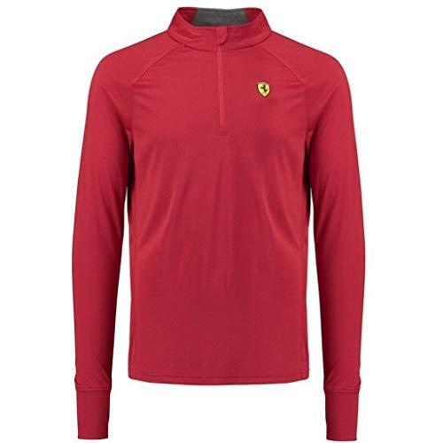 Kragen Signatur Polo (Scuderia Ferrari Formula 1 Herren Midlayer Langarm 1/2 Zip Shirt Rot, Herren, rot, X-Large)