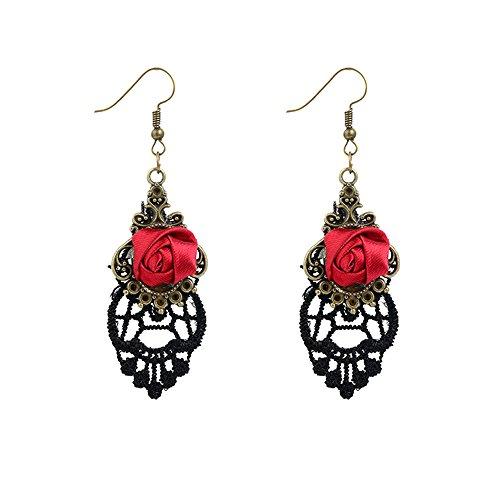 Mujeres Flor Rosa Roja Aretes - Gótico Cordón Anzuelo Pendientes