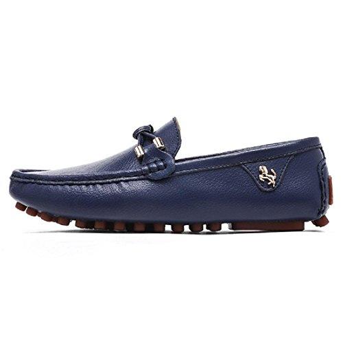 Hommes Mode Léger Loisirs Chaussures En Cuir Baller Appartements Non-slip Casual Chaussures Bouton Souple Conduire Euro Taille 37-44 Bleu