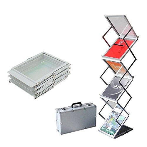 A4 Prospektständer, 6 Taschen Portable Folding Literatur Katalog Halter Boden stehend Pop-up Magazin-Halter Rack-Ständer mit Aluminium-Tragetasche für Messebüro (Rack Magazine Folding)
