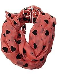 Peach & black felt hearts design Ladies Fashion Shawl Scarf 165cm x 70cm by Fat-Catz-copy-catz