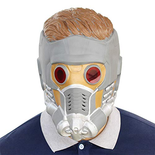 BaronHong Cosplay Maske Latex Helm Dekoration Thema Party Requisiten Halloween Kostüm Zubehör Erwachsene für Star-Lord (grau, M) (Star Lord Kostüm Zubehör)