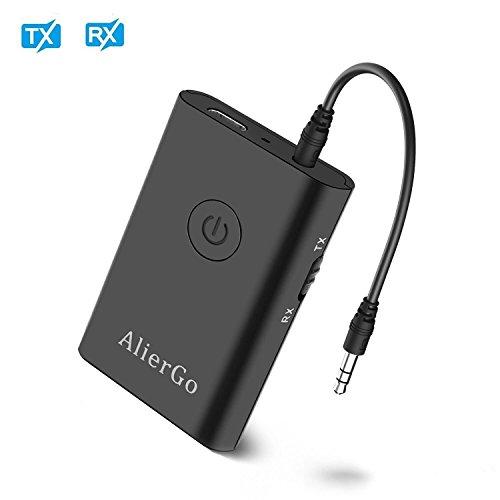 AlierGo Bluetooth Sender Empfänger 2 in 1 Transmitter mit 3,5mm Klinke Anschluss Bluetooth Audio-Adapter für Auto und Heim Stereoanlage/ Fernseher/ Kopfhörer/ Lautsprecher/ TV/PC/DVD Spieler /iPad