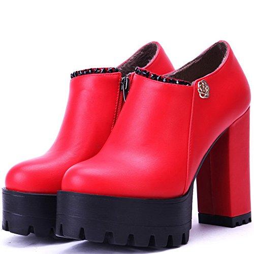AllhqFashion Femme Matière Souple Zip Rond à Talon Haut Mosaïque Chaussures Légeres Rouge