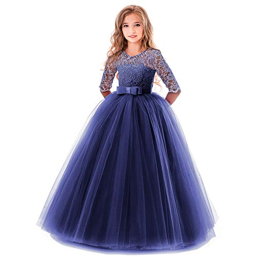 OBEEII Prinzessin Kleid Mädchen Blumenspitze Kurze Ärmel Elegante Ballkleid Cocktailkleid 13-14 Jahre ()