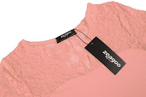 f31b7d700998 Zeagoo Damen Kurzarm T-Shirt Aus Floral Spitze Basic Shirt Spiztenshirt  Tunika Baumwolle Tops Hemd
