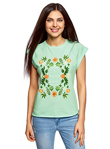 oodji Ultra Donna T Shirt Cotone con Stampa Senza Etichetta con Orlo Grezzo Verde IT 42 / EU 38 / S
