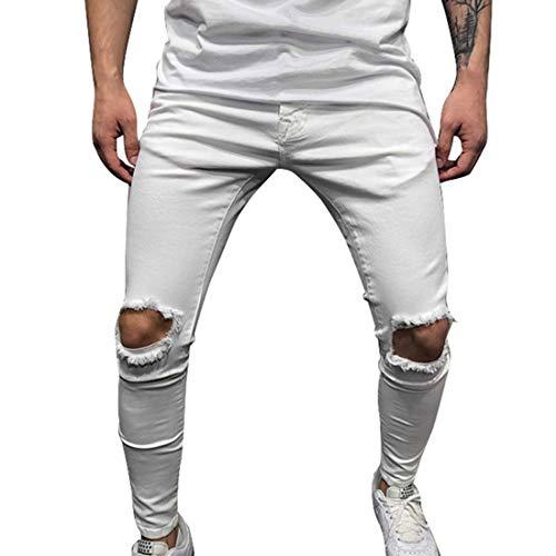 Shujin Homme Pantalon Déchiré Jeans Skinny Slim Troué Hip Hop Streetwear Mode Pantalon Crayon Casual