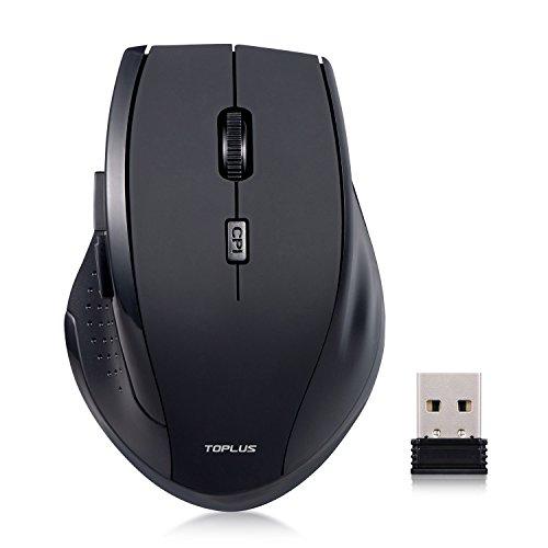 Schnurlos Maus Wireless Mouse, TOPLUS Schnurlose Optische Maus 2.4G Wireless Maus mit 6 Tasten 3 DPI (800/1200/1600) USB Nano Empfänger für PC Laptop Macbook Office (Schwarz)