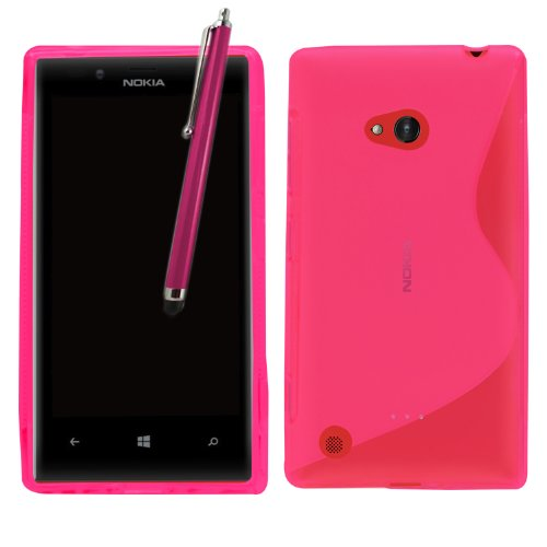 Samrick 6622 S Welle Hydro Gelieren Schutzhülle mit Displayschutzfolie, Microfasertuch und Aluminium Stylus Pen für Nokia Lumia 720/Nokia 720 RM rosa