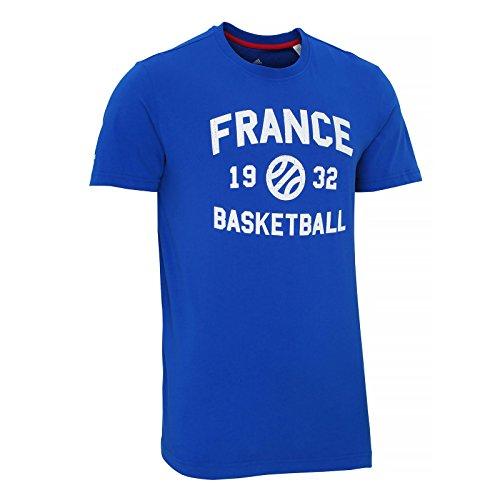 adidas French Federation Basketball T- T-Shirt Homme, Bleu/Blanc, Grand