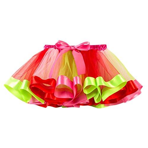 Mädchen Röcke, Longra Kinder Regenbogen Tüllrock Tanzkleid Ballettkleid Ballettrock mit Bow-Knot Mädchen Tütü Petticoat Unterkleid Kurz Miniröcke Festliche Party-Abendkleid (Red, 100-120CM 4Jahre)