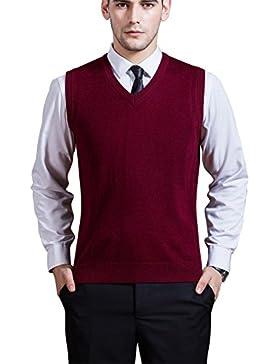 Chaleco de Punto con Cuello en V para Hombres sin Mangas de Cuello Redondo - Vino Tinto S